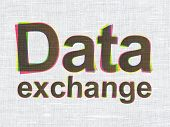 Information concept: Data Exchange on fabric texture background