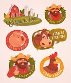 Farm fresh. Organic food. Retro style vector emblems.