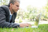 Mature businessman surfing on laptop while lying in park