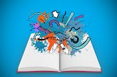 Composite image of communication concept on paint splashes on open book against blue background with