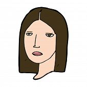 cartoon serious woman