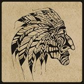 pic of indian chief  - Vector hand drawn Tattoo Native American Indian chief rough paper texture - JPG