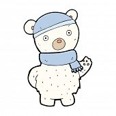 cartoon polar bear in winter hat and scarf