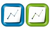 Set Of Two Icons With Paper And Graph