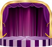 vector rounded stage with purple curtain