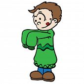 little boy in big clothes cartoon