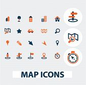 map, navigation icons, signs, elements set, vector