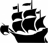 stock photo of galleon  - Vector illustration of a galleon and full sails - JPG