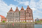 image of polonia  - Old and renovated buildings over Motlava River in Gdansk Poland - JPG