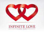 Infinite ribbon intertwined hearts vector design element. Infinite love concept vector template.