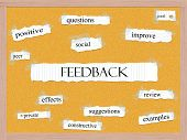 stock photo of pegboard  - Feedback Corkboard Word Concept with great terms such as questions good social and more - JPG