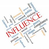 stock photo of peer-pressure  - Influence Word Cloud Concept angled with great terms such as example control beliefs and more - JPG