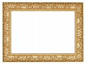 stock photo of carving  - ancient golden carved wide wooden picture frame with cut out canvas isolated on white background - JPG
