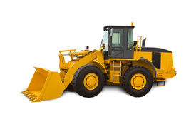 pic of power-shovel  - Yellow bulldozer over white background - JPG
