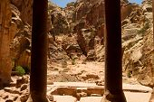 picture of camel-cart  - Interior of an ancient building carved into the mountain in the Nabatean city of Petra Jordan - JPG