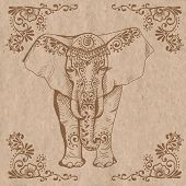 picture of mehendi  - A stylized drawing of an elephant - JPG