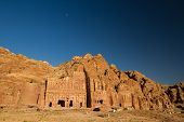 picture of camel-cart  - The moon over the archaelogical ruins of Petra Jordan - JPG