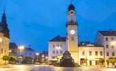 stock photo of banska  - Town square of Banska Bystrica after dusk - JPG