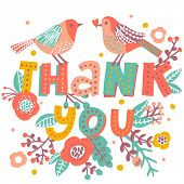 image of thankful  - Thank you card in bright colors - JPG