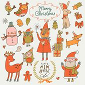 picture of rabbit year  - Christmas and New Year set in funny cartoon style - JPG