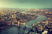 stock photo of bridges  - London aerial view with  Tower Bridge in sunset time - JPG