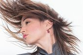 picture of hair motion  - Woman face with hair motion  close up portrait - JPG