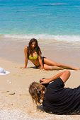 picture of bimbo  - Photographer Photoshoot on the beach with beautiful bikini model - JPG