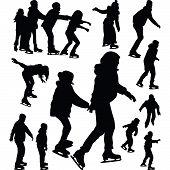 pic of skate  - People having fun on ice skating silhouette vector - JPG