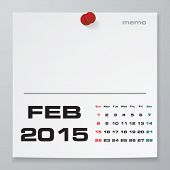 stock photo of february  - Simple 2015 year vector calendar with free space for your sample text  - JPG