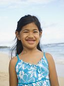 image of pacific islander ethnicity  - Pacific Islander girl at beach - JPG