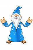 stock photo of warlock  - A cartoon illustration of a magical old wizard in a blue outfit - JPG