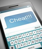 stock photo of cheating  - Illustration depicting a phone with a cheat concept - JPG