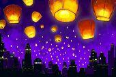foto of deepavali  - vector illustration of floating lantern in night sky - JPG