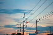 picture of transmission lines  - Row of transmission power line on sunset time - JPG