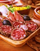 picture of smoked ham  - Tasty cold cuts on wooden table at home - JPG