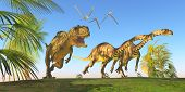 pic of behemoth  - Two Massospondylus dinosaurs run for their lives with a Yangchuanosaurus hunting them - JPG