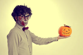 stock photo of hamlet  - a hipster zombie with a jack - JPG