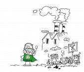 picture of polluted  - Super recycling hero and the polluting factory - JPG