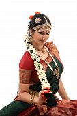 pic of bharatanatyam  - Woman with beautiful hairstyle with lots of jasmine flowers - JPG