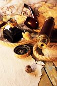 foto of spyglass  - Marine still life spyglass and world map on old wooden background - JPG