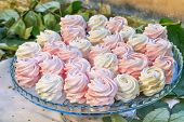 pic of buffet  - Delicious sweet buffet with pink marshmallow on glass tray - JPG