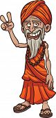 picture of guru  - Cartoon guru making the peace hand sign - JPG