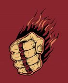 image of brass knuckles  - It is hitter fist with brass knuckles - JPG