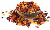 stock photo of dry fruit  - dried fruits from berries isolated on white background - JPG
