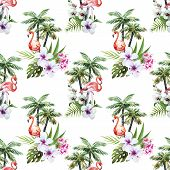 image of flamingo  - Beautiful vector watercolor pattern with flamingo palm and flowers - JPG