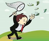 picture of chase  - businessman catch a money illustration - JPG