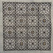 stock photo of aida  - Square Blackwork embroidery with gold highlights - JPG