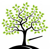 stock photo of hoe  - vector tree and hoe isolated on white background - JPG