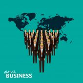image of earth structure  - vector flat illustration of a leader and a team - JPG