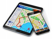 stock photo of screen  - Modern black glossy touchscreen smartphone or mobile phone and tablet computer PC with wireless navigator map service internet application on screen isolated on white background - JPG